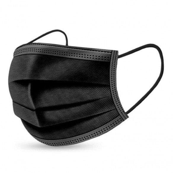Maschera protettiva di tipo medico llR a 3 strati nera