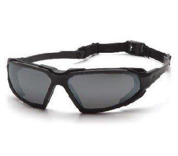 Occhiali di sicurezza Highlander, montatura nera, lenti rosse a specchio