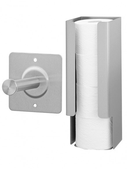 Porta rotoli di ricambio in acciaio inox per 1 o 4 rotoli